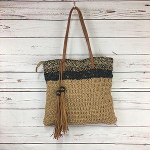 Handbags - Large Crochet Hemp Look Shoulder Bag Purse Tote